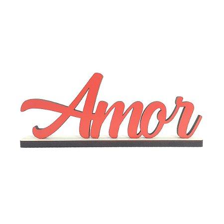 Nome Amor Decorativo com Base Vermelho