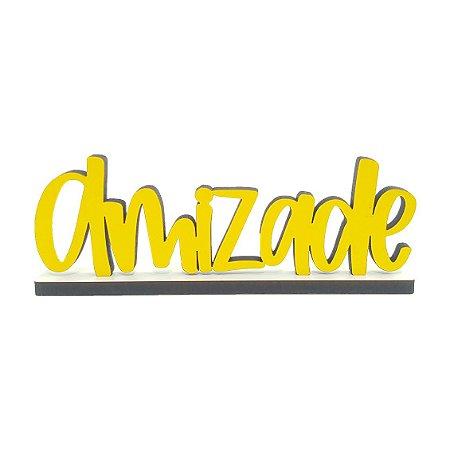 Nome Amizade Decorativo com Base - Amarelo