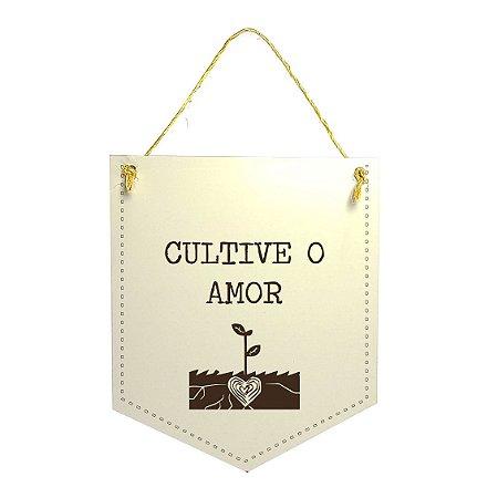 Plaquinha Xilogravura - Cultive o Amor