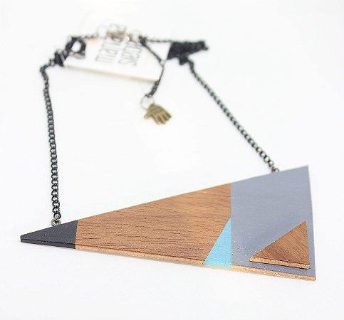 Colar Madeira Triângulo Big