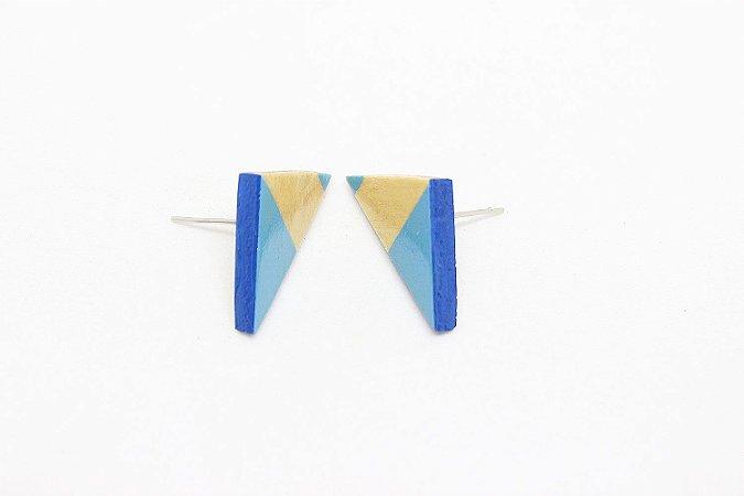 Brinco Madeira Triângulo Azul