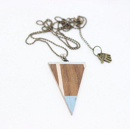 Colar Madeira Triângulo Linhas