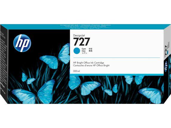 Cartucho de Tinta HP 727 Ciano PLUK 300ml