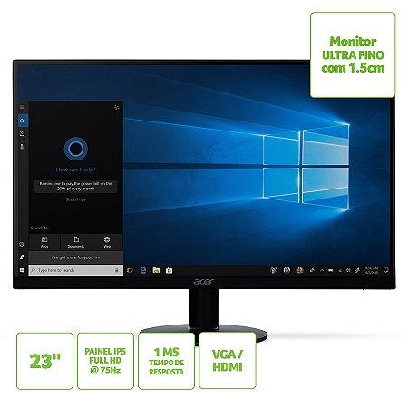 Monitor ACER 23'' SA230 Ultra-fino, Full HD, 75Hz HDMI VGA