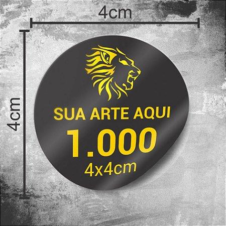 1.000 Adesivos Personalizados 4x4cm Redondo