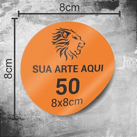 50 Adesivos Personalizados 8x8cm