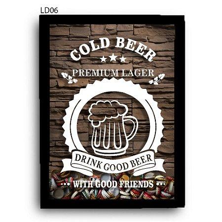 Quadro Tampinhas Cold Beer Premium Lager LDQT01