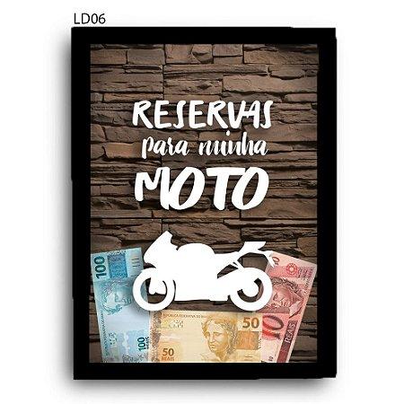 Quadro Cofre Reservas Para Minha Moto LDQC30