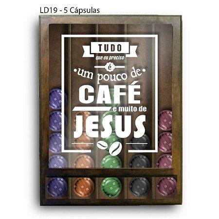 Quadro Cápsulas de Café Um Pouco de Café e Muito Jesus LDQF03