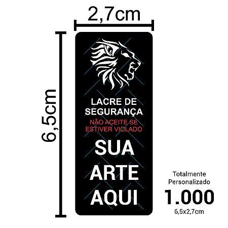 1.000 Lacres de Segurança Adesivos Personalizados 6,5x2,7cm
