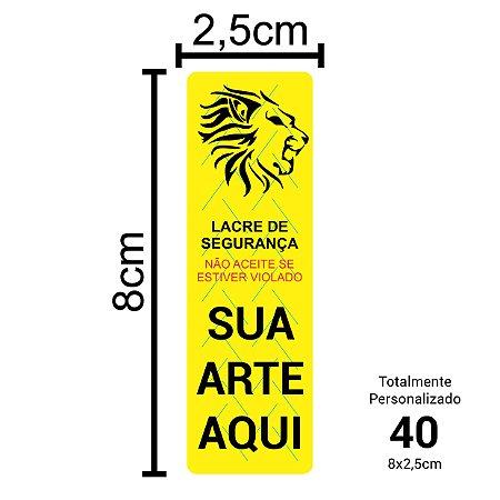 40 Lacres de Segurança Adesivos Personalizados 8x2,5cm