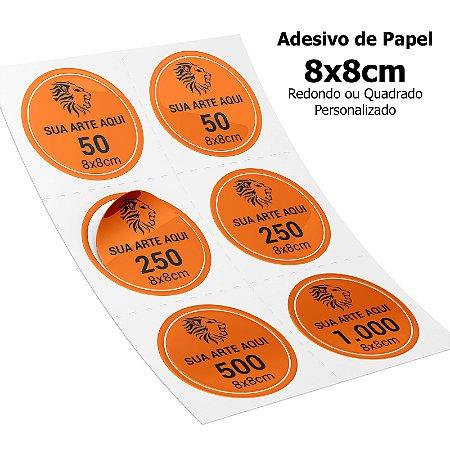 Adesivos Personalizados de Papel 8x8cm