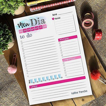 Planner Diário Personalizado Rosa