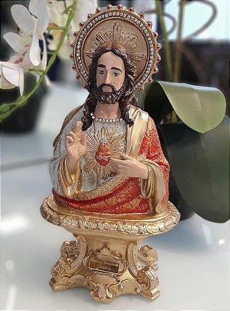 Busto Jesus Cristo Pintado à Mão 28,5cm
