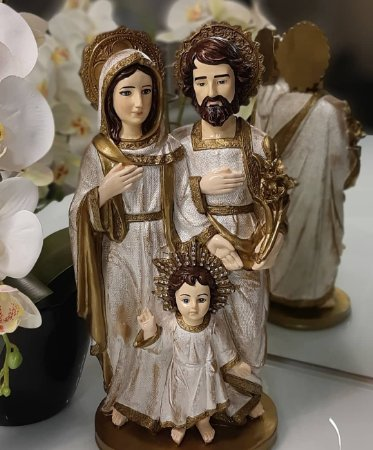 Estátua Sagrada Família Gesso Pintura Exclusiva 40cm