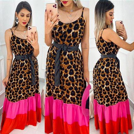 Vestido Longo Animal Print Colors Com Cinto