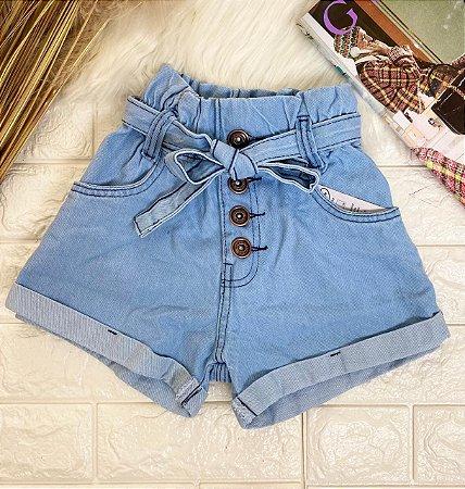 INFANTIL - Short Jeans Buttons Cinto