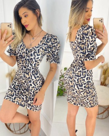 Vestido Suplex Laço Animal Print