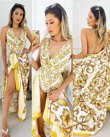 Conjunto Body E Saída Floral Dourado