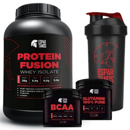 Kit Protein Fusion Whey Isolate + Bcaa Pó + Glutamina + Copo