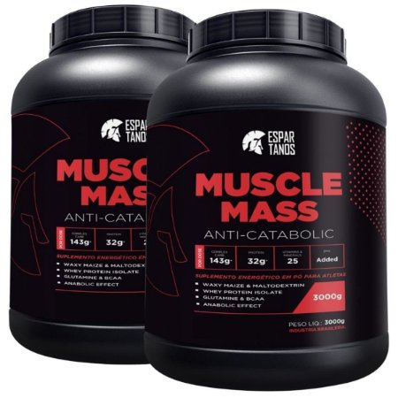 Kit 2x Muscle Mass Hipercalórico 3000g - Espartanos