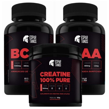 Kit Hipertrofia - 2x Bcaa + Creatina - Espartanos