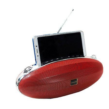CAIXA DE SOM HMASTON WIRELESS COM RADIO FM E SUPORTE PARA SMARTPHONE u-10