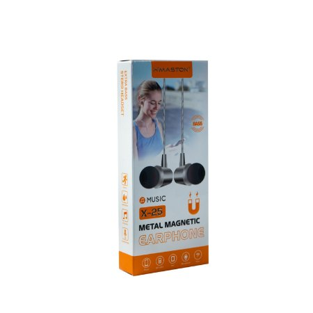 Fone de ouvido magnético metal stereo com microfone HMASTON