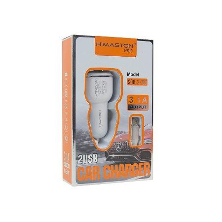 CARREGADOR VEICULAR RÁPIDO 3.1A 2 USB HMASTON