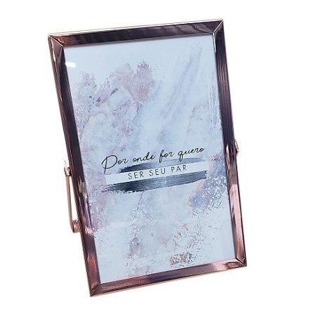 Porta retrato com trava de pressão rosê gold de metal e vidro FWB 16cm
