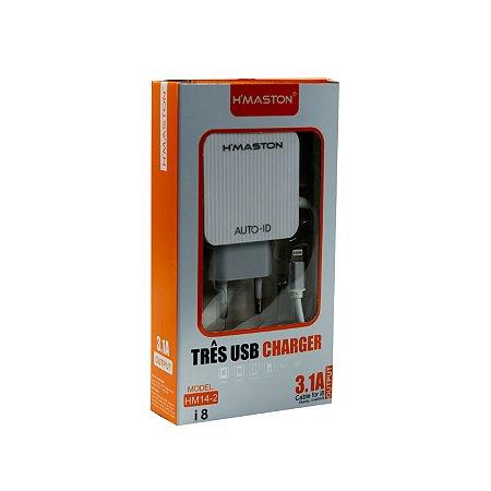CARREGADOR IPHONE 3 PORTAS USB 3.1A