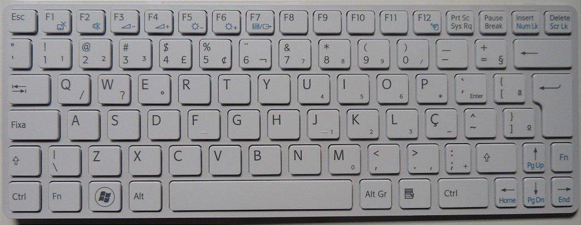 Teclado 149101611us Para Notebook Sony Vaio Sve111 Branco