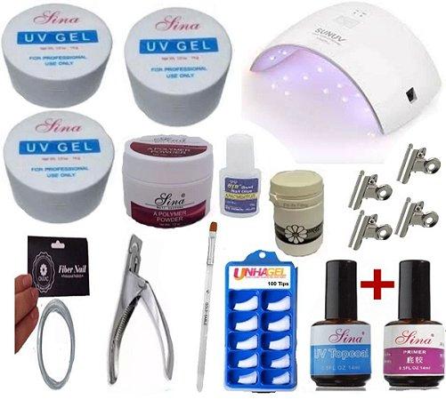 Kit para unhas gel em fibra com cabine UV Sina