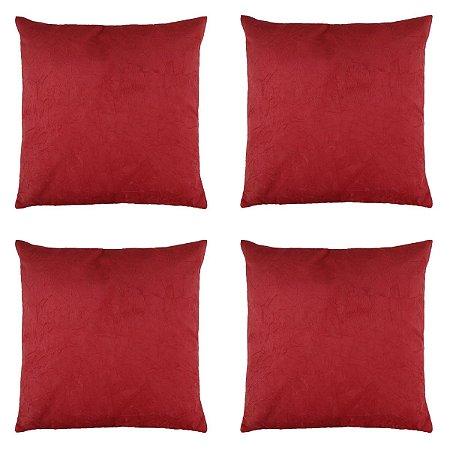 Kit com 4 Capas de Almofadas Decorativas Suede - Vermelha