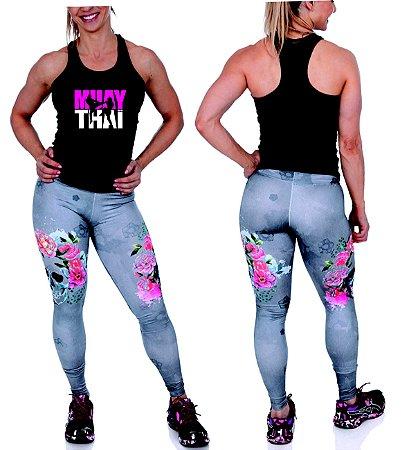 Camiseta regata feminina Muay Thai - malha fria pv!