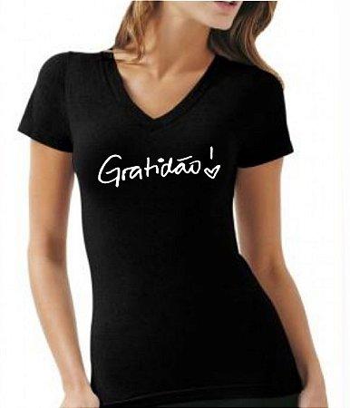 Camiseta baby look feminina Estampa Gratidão