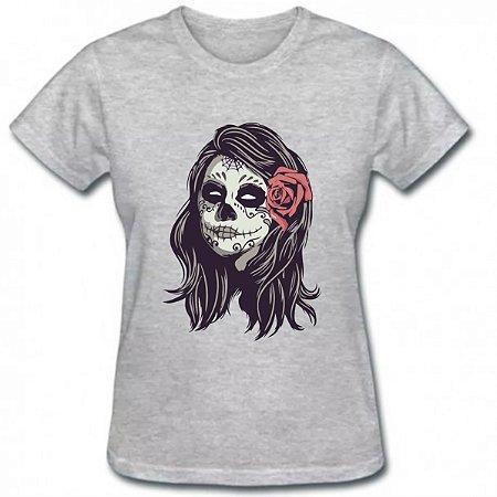 Camiseta baby look feminina caveira mexicana tumbir