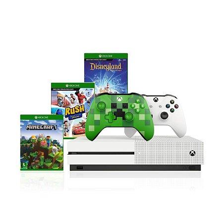 Combo Xbox One S 1tb 4k 2 Controles e Jogos Minecraft - Rush Disney - Disneyland Adventures - Microsoft