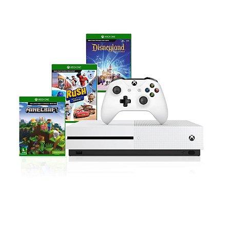 Console Xbox One S 1tb 4k 1 Controle Wireless Jogos Minecraft - Rush Disney - Disneyland Adventures - Microsoft