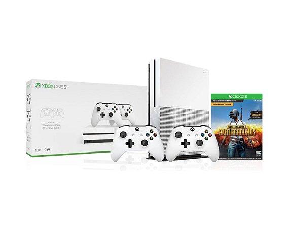 Console Xbox One S 1TB Com 2 Controles Brancos e Jogo Battlegrounds - Microsoft