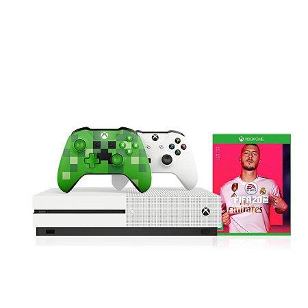 Console Xbox One S 1tb 4k 1 Controle Wireless Branco 1 Minecraft Especial Edition + Fifa2020 - Microsoft