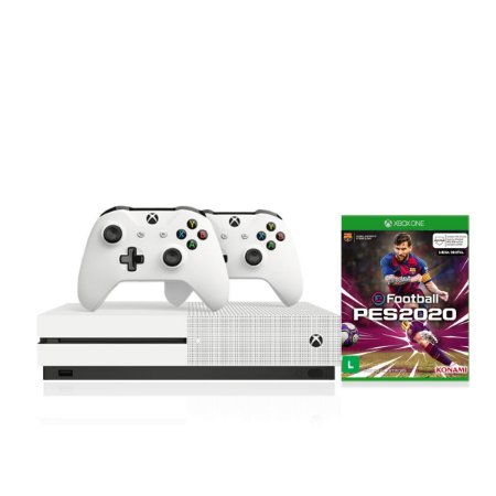 Console Xbox One S 1tb 4k 2 Controles Wireless Brancos e Pes2020 Midia Digital - Microsoft