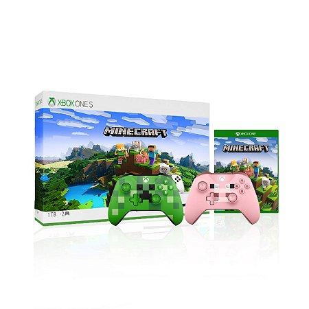 Console Xbox One S 1tb Com 2 Controles do Minecraft - Microsoft