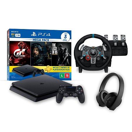 Mega Combo PS4 Slim Pack Bundle V10 - Volante G29 Logitech - Headset Gold Wireless Sony