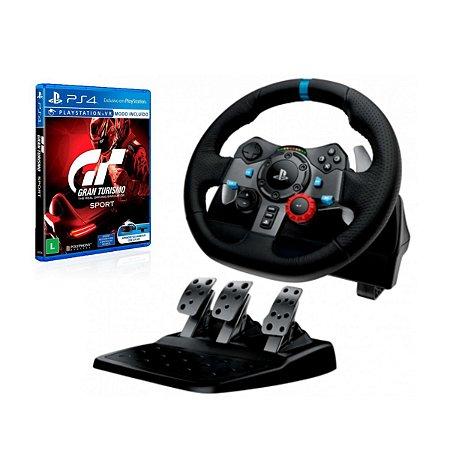 Volante Gamer G29 - PS4 PS3 e PC Com Jogo Gran Turismo Sport Ps4 - Logitech