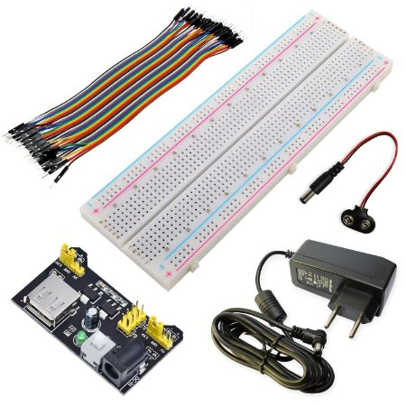 Kit Protoboard 830 + Fonte DC + Fonte Ajustável + 40 Jumpers