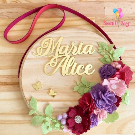 Porta de Maternidade Floral 20 cm