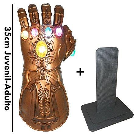 Manopla do Infinito Thanos com Luzes Led Luva Vingadores Alta Qualidade + Pedestal