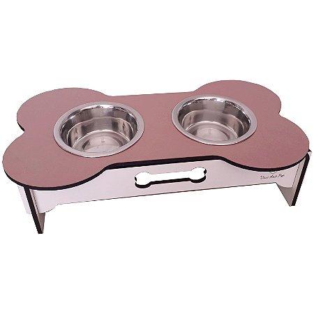 Comedouro duplo para cães potes inox madeira rosa e branco