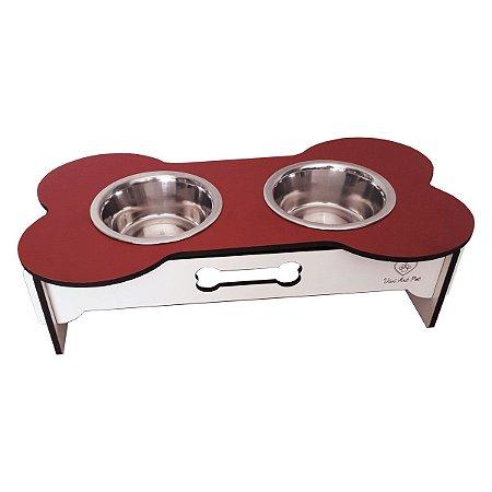 Comedouro duplo cães potes inox madeira vermelha e branco